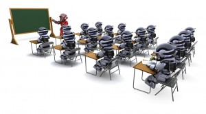 robot teacher in classroom