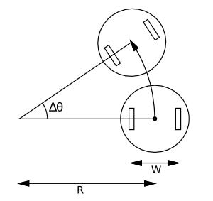 криволинейный путь робота с дифференциальным приводом