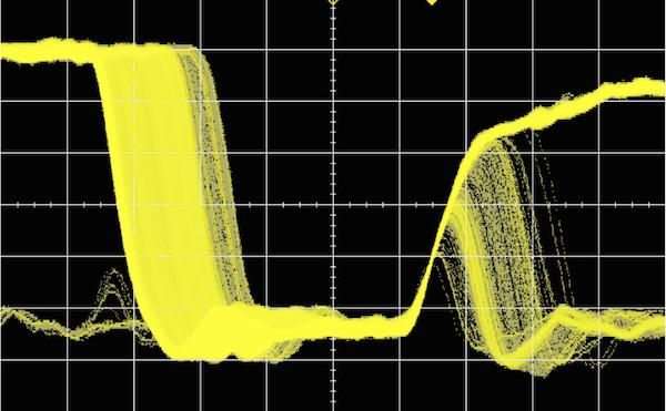 Регистрация выбросов в осциллографе со скоростью 1 миллионо обновлений сигнала в секунду