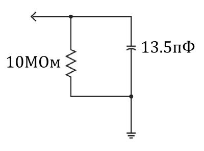 Упрощенная электрическая модель пробник-осциллограф