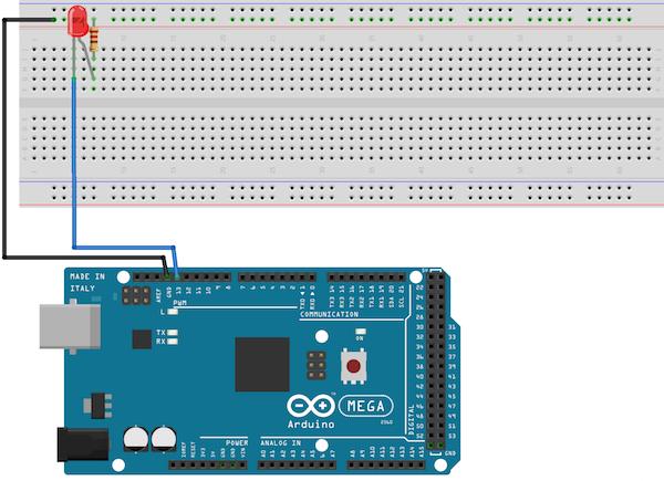 Светодиод, подключенный к Arduino