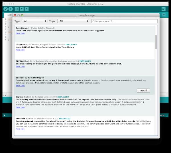 Менеджер библиотек Arduino IDE