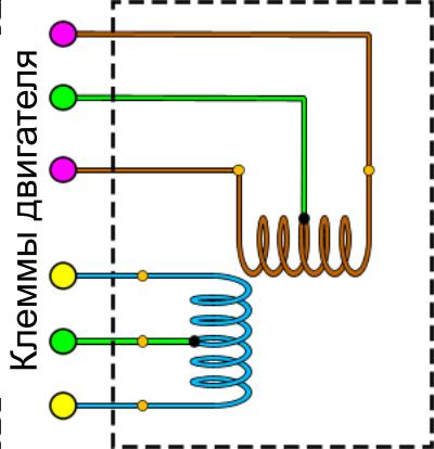 Подключение обмоток униполярного двигателя с 6 выводами