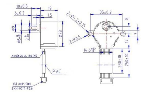 Размеры шагового двигателя 28BYJ-48